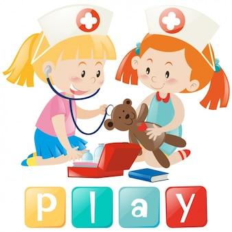 Diseño de niñas jugando