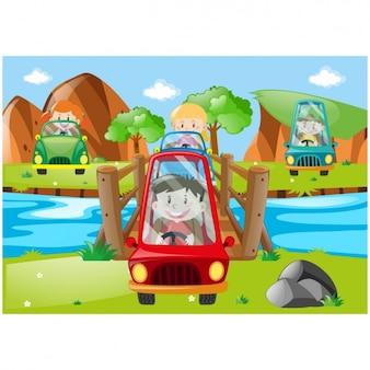 Diseño de niños con coches