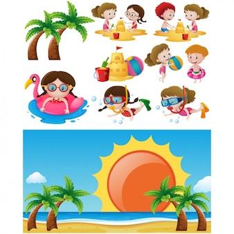 Diseño de niños jugando en la playa