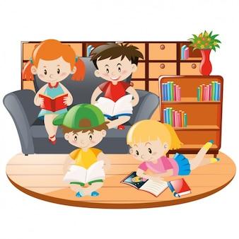 Diseño de niños leyendo