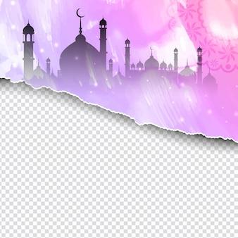 Diseño de papel rasgado religioso de eid mubarak