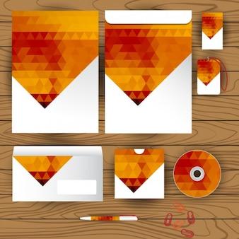 Diseño de papelería corporativa naranja
