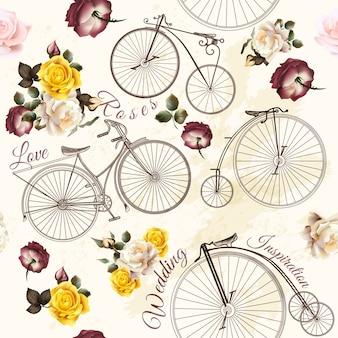 Diseño de patrón de bicicletas y flores