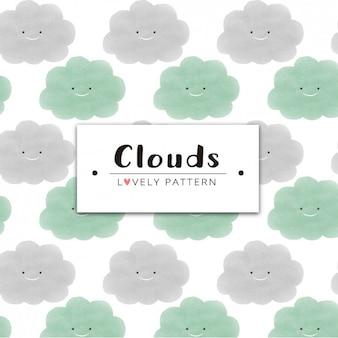 Diseño de patrón de nubes sonriendo