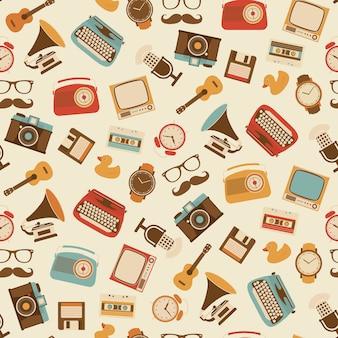 Diseño de patrón de objetos vintage