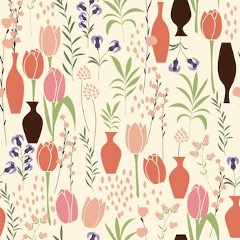 Diseño de patrón de tulipanes