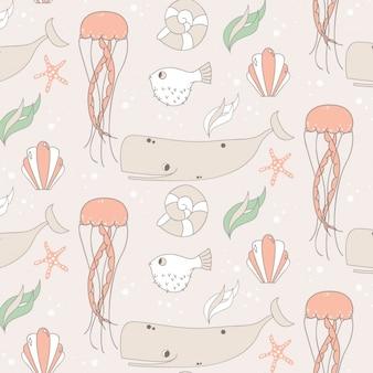 Diseño de patrón de vida marina