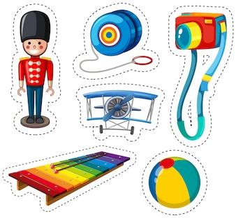 Diseño de pegatina con diferentes juguetes