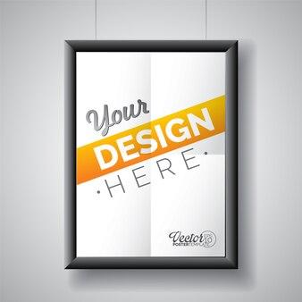 Diseño de poster blanco con marco