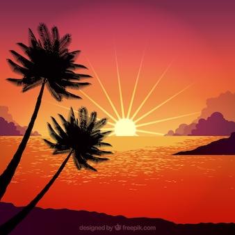 Diseño de puesta de sol con palmeras