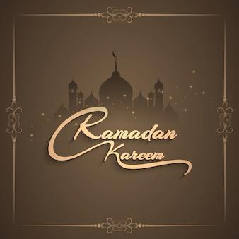 Diseño de ramadán kareem con mezquita y marco