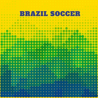 Diseño de semitono de fútbol en colores de brasil