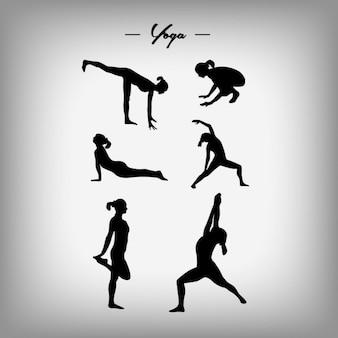 Diseño de siluetas de mujer haciendo yoga