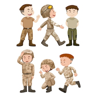 Diseño de soldados a color