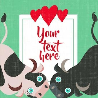 Diseño de tarjeta de amor con animales