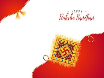 Diseño de tarjeta de felicitación para Raksha feliz Bandhan.