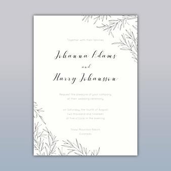 Diseño de tarjeta de invitación de boda con dibujos elegantes