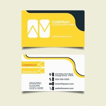 Diseño de tarjeta de negocios amarilla simple