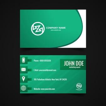 Diseño de tarjeta de visita brillante en color verde
