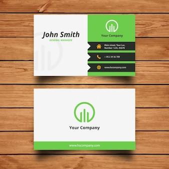 Diseño de tarjeta de visita corporativa de color verde