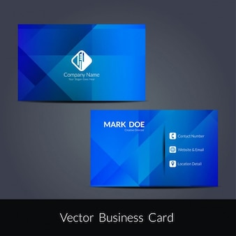 Diseño de tarjeta de visita moderna azul
