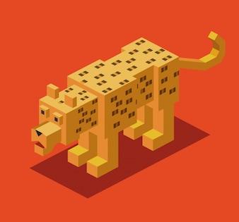 Diseño de tigre isométrico