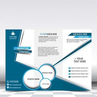 Diseño de tríptico de negocios azul