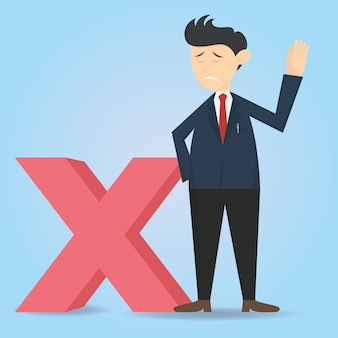 Diseño de vector de dibujos animados de carácter de hombre de negocios con símbolo equivocado