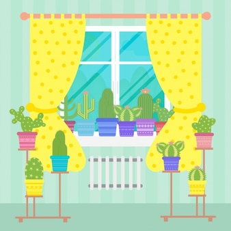 Diseño de ventana con cactus