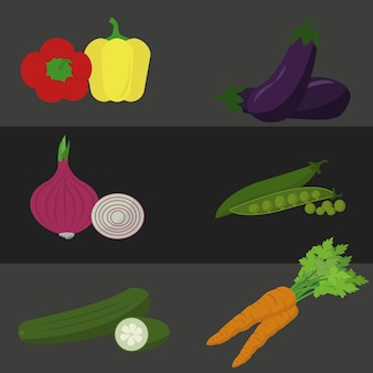 Diseño de verduras a color