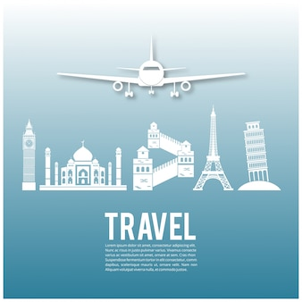 Diseño de viaje con avión y monumentos