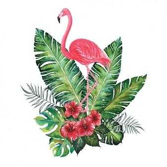 Diseño decorativo de flamenco en acuarela