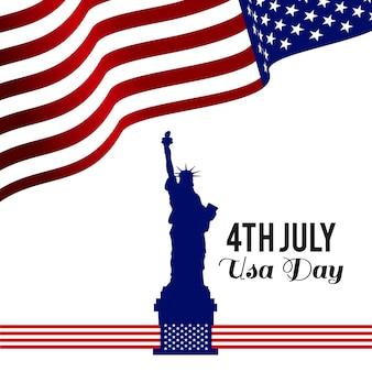 Diseño del día de la independencia con bandera y estatua de la libertad