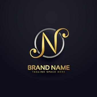 Diseño dorado de lujo de logotipo de la letra n