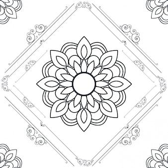 Diseño elegante floral ornamental de marco