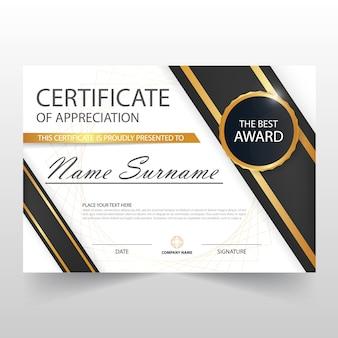 Diseño elegante oscuro horizontal de certificado
