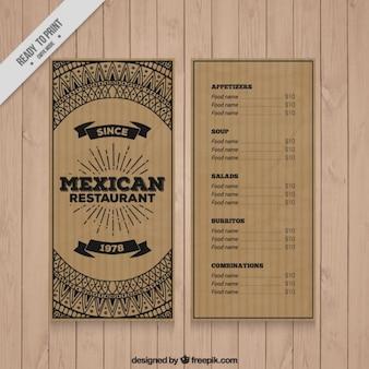 Diseño en cartón de menú de restaurante mexicano