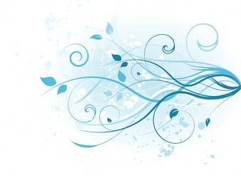 Diseño floral azul de fondo