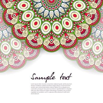 Diseño floral de mandala con espacio para texto