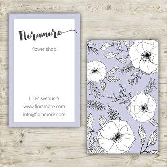 Diseño floral de tarjeta de visita