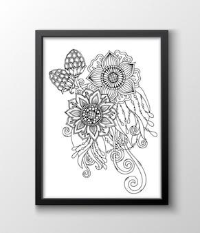 Diseño floral en un marco