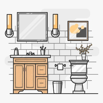 Diseño isométrico de interior de baño