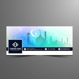 Diseño luminoso de eid mubarak para la timeline de facebook