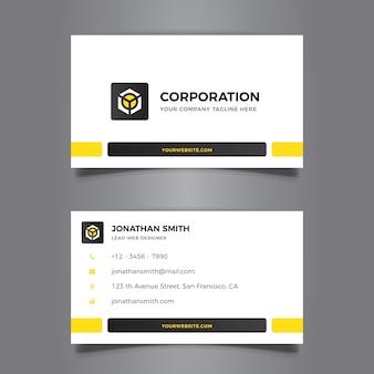 Diseño moderno amarillo de tarjeta de visita