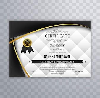 Diseño moderno de certificado con formas onduladas negras