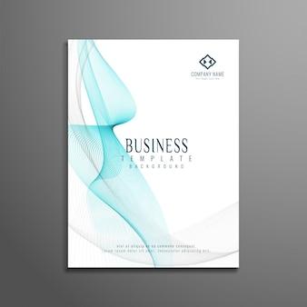 Diseño moderno de folleto de negocios con formas azules onduladas