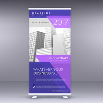 Diseño morado de banner roll up