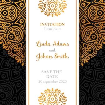 Diseño oscuro de lujo de invitación de boda