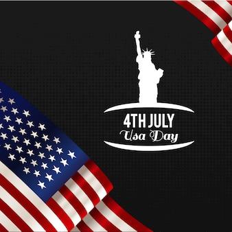 Diseño para el día de la independencia con bandera y estatua de la libertad