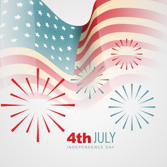Diseño para el día de la independencia con fuegos artificiales abstractos